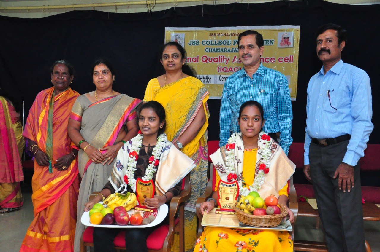 Felicitation Ceremony of Gold Medalist and Cash Prize winners in academic year 2019-2020. Chandana G – BA (2 Gold Medals, 3 Cash Prize awards), Anjali G N – BSc (one Gold Medal)