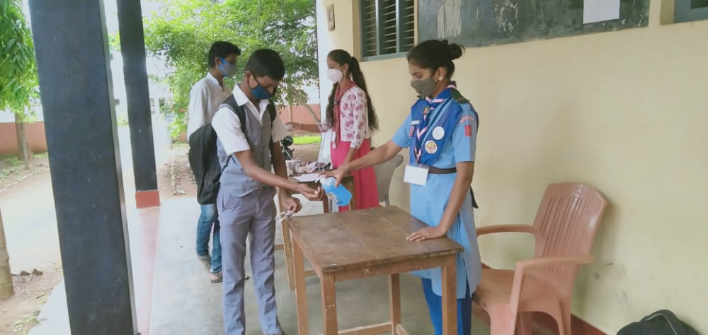 Rangers of the college rendered service at various school at the time of SSLC examination during lockdown on 19.07.2021 and 22.07.2021