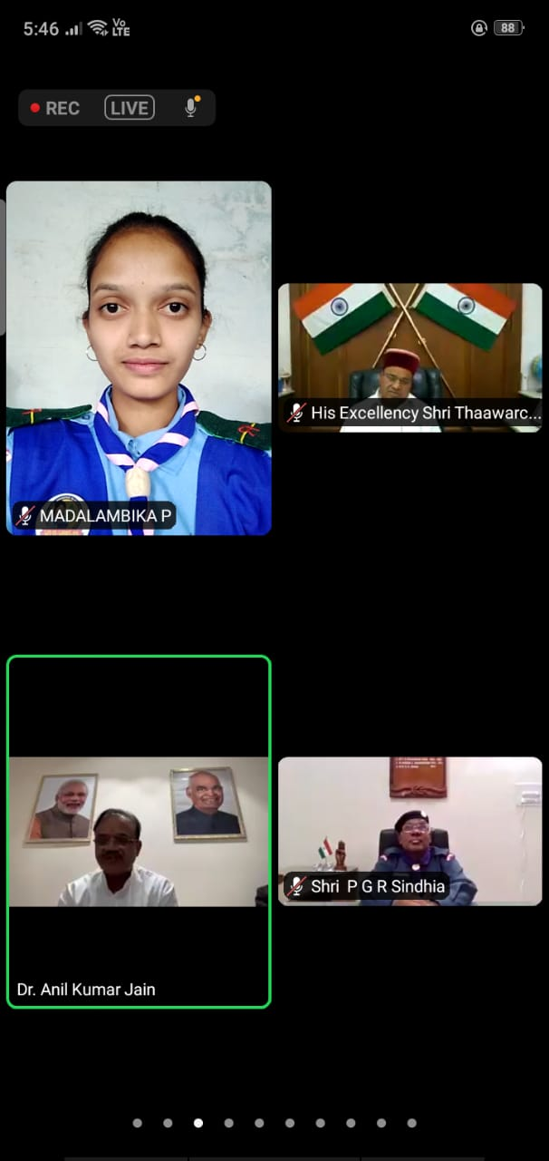 The Rajyapuraskar Award Winners of the college attended a virtual meet with His Excellency Thawar Chand Gehlot, Governor of Karnataka, Sri P G R Sindhia and others.