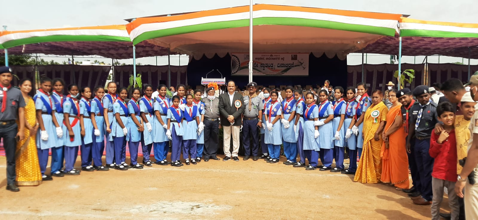 On the occasion of 75th Independence Day, The Bharath Scouts and Guides Unit, Chamarajanagar organized a parade at the Ambedkar Stadium,  Chamarajanagar on 15.08.2021. The following Rangers attended the parade and secured 3rd prize.