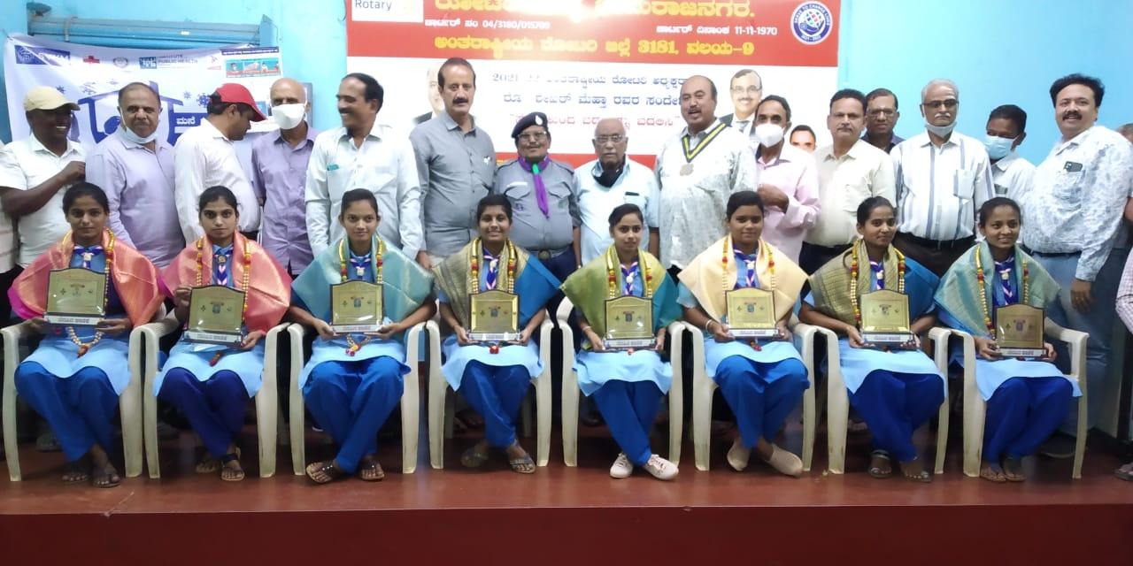 Felicitation to the Rajyapuraskar Award winner Rangers of our college on 24.08.21 by The Rotary Club, Chamarajanagar, at rotary bhavan, BR hills road, Chamarajanagar